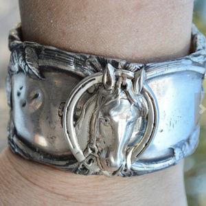 Art Nouveau Cowboy Wide Horse Head Brass Cuff